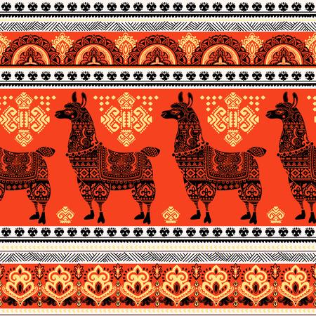 민족 장식 벡터 귀여운 알파카 라마 동물
