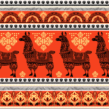 Vector cute Alpaca Llama animal with ethnic ornaments