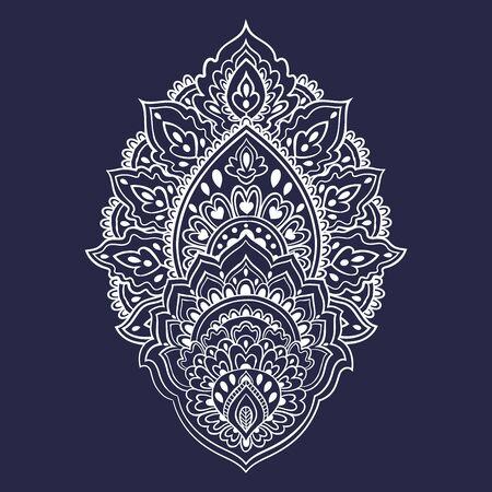 arabesque pattern: Beautiful Indian floral ornament. Ethnic Mandala. Henna tattoo style.