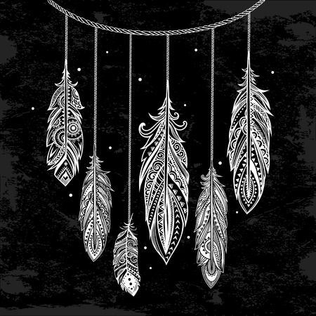 american dream: Vintage vector ethnic tribal bohemian feather background Illustration