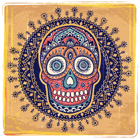 symbol: Vintage ethnic hand drawn human skull can be used as a greeting card Illustration