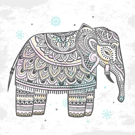 thailand symbol: Vintage Indian elephant with tribal ornaments. Floral mandala greeting card.