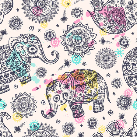 unique: Ethnic vintage elephant seamless for you business