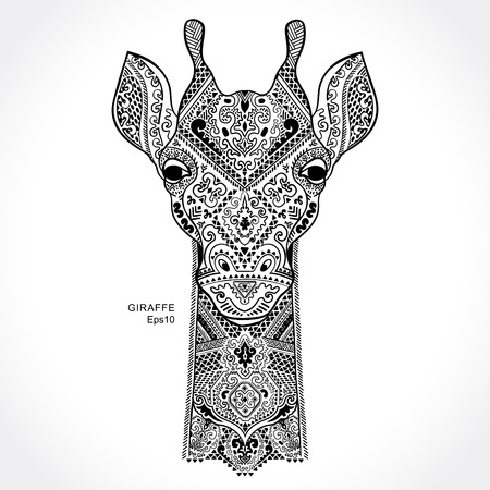 giraffe silhouette: Vector giraffe with ethnic and tribal ornaments Illustration