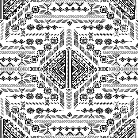 Vector Tribal Mexican vintage ethnic seamless pattern Çizim