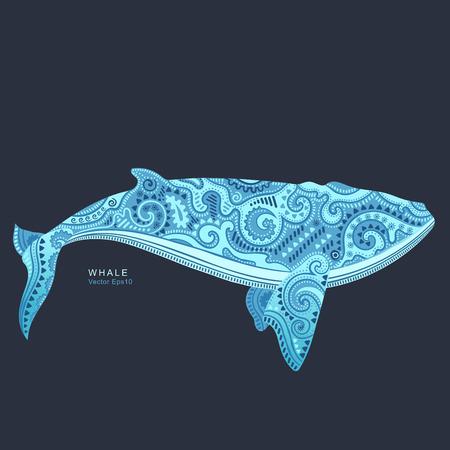Vecteur sauvage Whale avec des ornements tribaux et ethniques