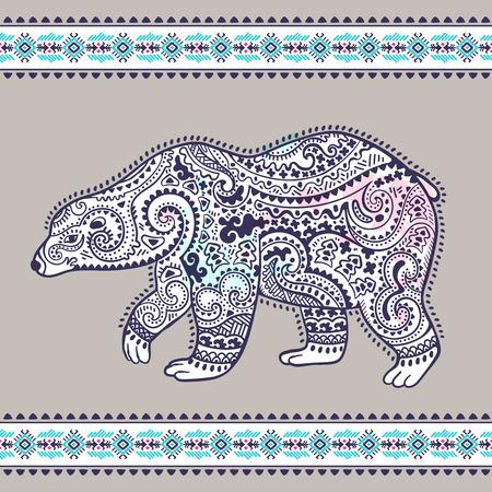 Tribal hand drawn totem bear with ethnic border Illusztráció