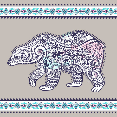 Tribal hand drawn totem bear with ethnic border Illustration