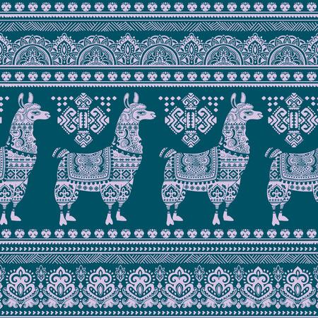 Vector cute Alpaca Llama animal with ethnic ornaments Vector Illustration