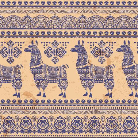 llama: Vector cute Alpaca Llama animal with ethnic ornaments