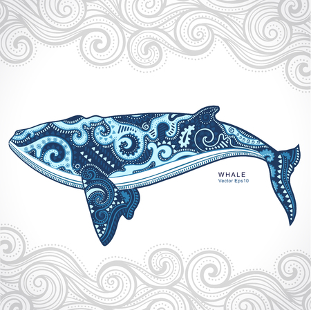 Vector wild Whale with tribal and ethnic ornaments 向量圖像
