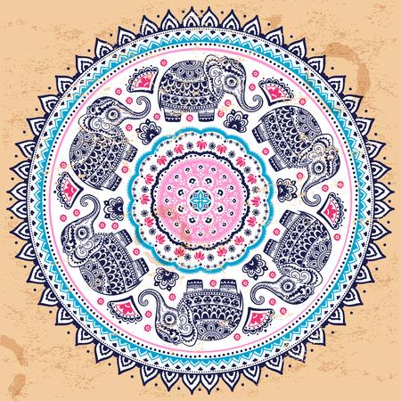 Indian vector ethnic mandala ornament with tribal aztec elephants