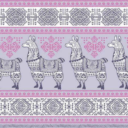 llama: Vector cute Alpaca Llama animal with ethnic ornaments