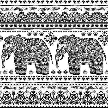 Ethnic Indian bohemian style elephant seamless pattern with tribal ornaments Ilustração