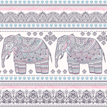 Ethnic Indian bohemian style elephant seamless pattern with tribal ornaments Ilustrace