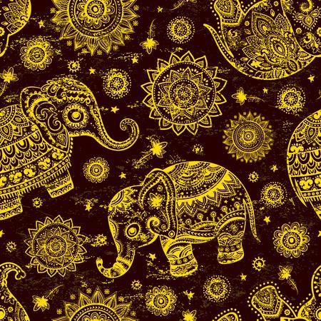 nomadic: Ethnic Indian bohemian style elephant seamless pattern with tribal ornaments Illustration