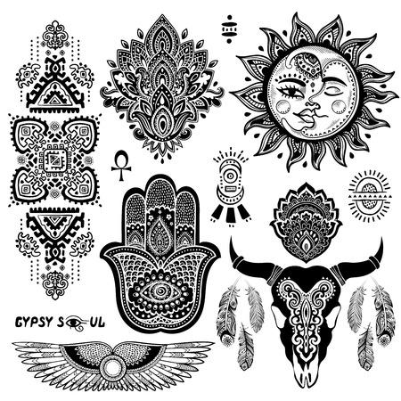Bohemian style vector flash tattoo symbols set