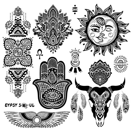 Bohemian style vector flash tattoo symbols set