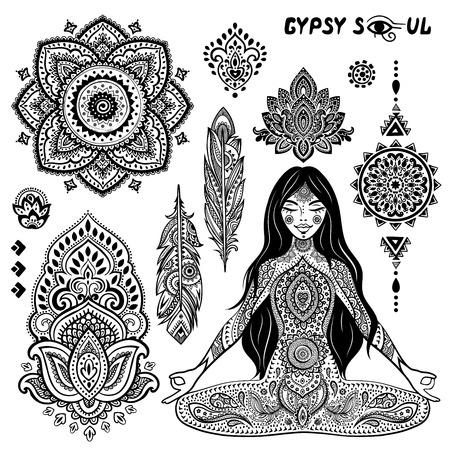 Set van decoratieve Indiase elementen en symbolen Stock Illustratie