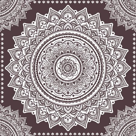 Bellissimo ornamento floreale indiano. Mandala etnica. Stile tatuaggio all'henné