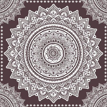 Schöne indische Blumenverzierung . Ethnische Mandala . Henna Tattoo-Stil