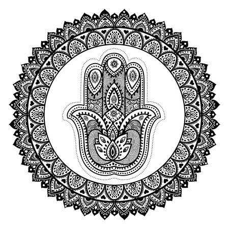 hand drawn flower: Vector Indian hand drawn hamsa with ethnic ornaments