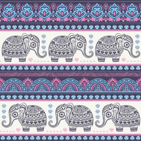 animal print: elefante indio de la vendimia con adornos tribales. Mandala Tarjeta floral. Vectores