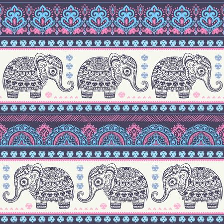 elephant: Vintage Indian elephant with tribal ornaments. Floral mandala greeting card.