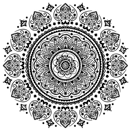mandala: Bohemian Indian Mandala towel print. Vintage Henna tattoo style Indian medallion. Ethnic ornament could be used as shirt print, greeting card, business card, phone case print, textile, coloring book Illustration