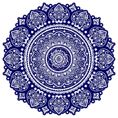 Bohemian Indian Mandala towel print. Vintage Henna tattoo style Indian medallion. Ethnic ornament could be used as shirt print, greeting card, business card, phone case print, textile, coloring book  イラスト・ベクター素材