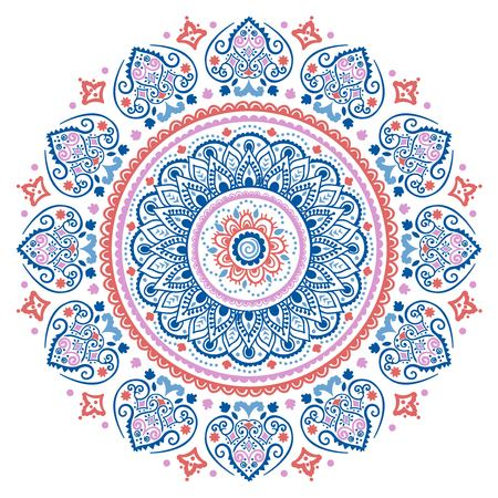 style: Bohemian Indian Mandala towel print. Vintage Henna tattoo style Indian medallion. Ethnic ornament could be used as shirt print, greeting card, business card, phone case print, textile, coloring book Illustration