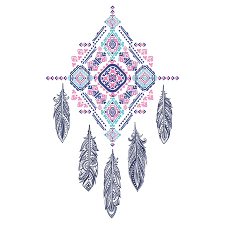 Vector Aztec Mexican tribal ornament dream catcher. African ethnic ornament. Tribal tattoo design could be used as greeting card, business card, phone case print, shirt print, coloring book