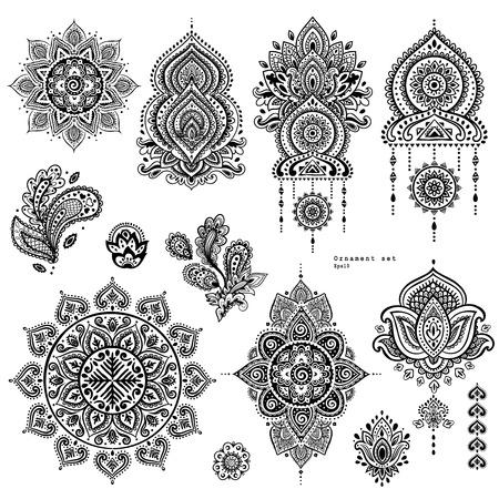 벡터 설정의 인도 꽃 페이 즐 리 장식품. 페르시아어 민족 만다라 로터스 아이콘입니다. Henna 문신 스타일 배너 인사말 카드, 명함, 전화 케이스 인쇄,