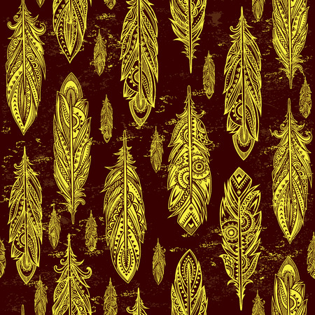 softly: Vinatge ethnic tribal feather seamless for your business Illustration