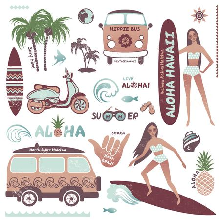 surf girl: Set of vintage style Hawaiian summer icons of surf girl, hippie bus and pineapple. Can be used for textile, shirt print, greeting card, business card, travel advertisement Illustration