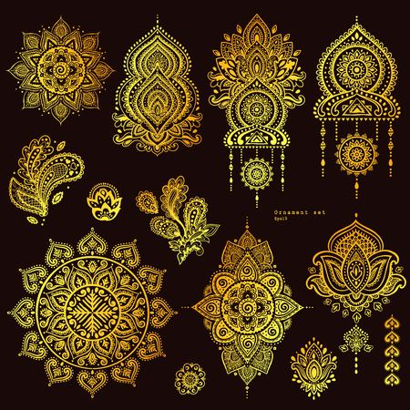 book case: Vector set of Indian floral paisley ornaments. Persian Ethnic Mandala lotus icon. Henna tattoo style banners could be used as greeting card, business card, phone case print, shirt print, coloring book