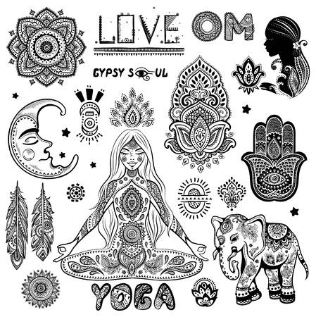 Insieme di vettore degli ornamenti floreali cachemire. Elefante indiano. icona di Lotus Mandala. Banner Henna stile tatuaggio potrebbe essere utilizzato come biglietto di auguri, biglietti da visita, cassa del telefono, stampa camicia, libro da colorare Archivio Fotografico - 62839483