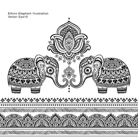 빈티지 그래픽 벡터 인도 로터스 민족 코끼리 원활한 패턴입니다. 아프리카 부족 장식입니다. 색칠하기 책, 섬유, 지문, 전화 케이스, 인사 장, 명함 등