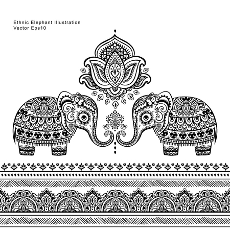 Vintage graphic vector Indian lotus ethnic elephant seamless pattern. African tribal ornament. Can be used for a coloring book, textile, prints, phone case, greeting card, business card Çizim
