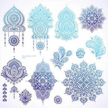 Conjunto de vectores de la India Paisley adornos florales. Persa étnica icono de la mandala de Lotus. banderas del estilo del tatuaje de la alheña se podrían utilizar como tarjeta de felicitación, tarjetas de visita, impresión de la caja del teléfono, camisa de impresión, libro para colorear