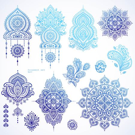 Vector set of Indian floral paisley ornaments. Persian Ethnic Mandala lotus icon. Henna tattoo style banners could be used as greeting card, business card, phone case print, shirt print, coloring book