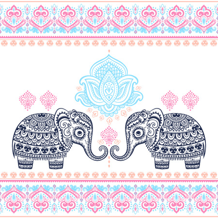 Vintage graphic vector Indian lotus ethnic elephant seamless pattern. African tribal ornament. Can be used for a coloring book, textile, prints, phone case, greeting card, business card Vettoriali