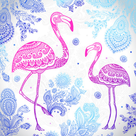 Vector tribal Flamingo birds with floral ornaments
