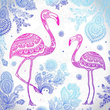 flamingos: Vector tribal Flamingo birds with floral ornaments
