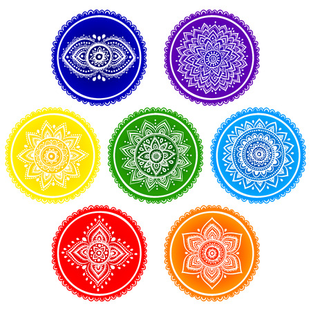 sahasrara: Bohemian Indian chakra Mandalas. Vintage Henna tattoo style Indian medallion. Ethnic ornament could be used as shirt print, greeting card, phone case print, textile Stock Photo