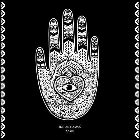 mandala: Vector Indian hand drawn hamsa symbol ornament print. Ethnic Mandala towel. Vector Henna tattoo style. Can be used for textile, greeting business card, coloring book, phone case print Illustration