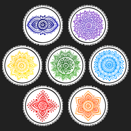 Bohemian Indian chakra Mandalas. Vintage Henna tattoo style Indian medallion. Ethnic ornament could be used as shirt print, greeting card, phone case print, textile Illustration