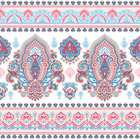 Beautiful Indian floral paisley seamless ornament print. Ethnic Mandala towel. Henna tattoo style. Can be used for textile, greeting business card background, coloring book, phone case print Ilustrace