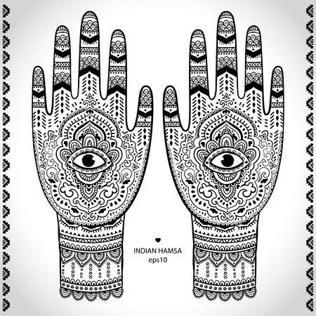 mantra: Indian hamsa symbol ornament print. Ethnic Mandala towel. Henna tattoo style. Can be used for textile, greeting business card background, coloring book, phone case print