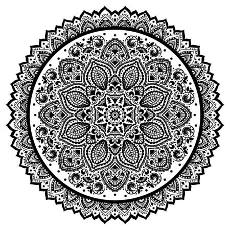 christmas tattoo: Bohemian Indian Mandala towel print. Vintage Henna tattoo style Indian medallion. Ethnic ornament could be used as shirt print, phone case print, textile, coloring book. Christmas holiday snowflake